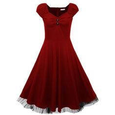 EA Selection Women's Cap Shoulder Vintage Swing Party Dress (54 CAD) ❤ liked on Polyvore featuring dresses, red vintage dress, vintage cocktail dresses, red dress, vintage dresses and red cocktail dress