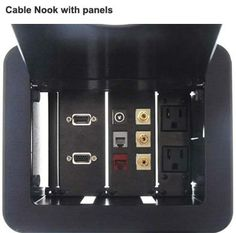 The #Cable Nook Interconnect Box allows you to #customize up to 6 different plates so you have the #connection you need, right there in your #desk.
