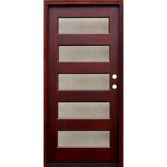 Pacific Entries, Contemporary 5 Lite Seedy Stained Mahogany Wood Entry Door with 6 Wall Series, M55SDML6 at The Home Depot - Tablet