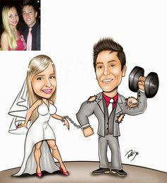 Caricatura muito divertida feito para Cristina !!! Seu noivo adora malhar e está sempre sarado...rsrsrs !!! Ele tem uma tatuagem em homenagem a Cris !!! Muito legal. Agora está tudo pronto para o casório.....!!! Parabéns casal. Site: www.ricksucaricaturas.com.br