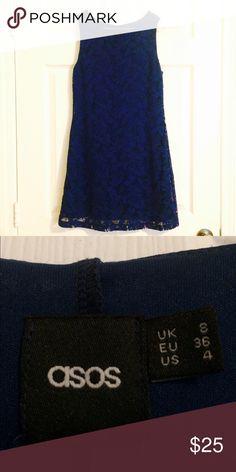ASOS Blue Lace Sheath Dress Navy blue lace sleeveless dress fully lined, back zip EUC ASOS Dresses Midi