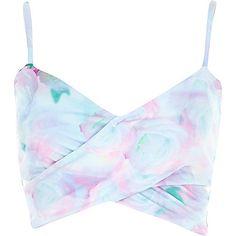 Pink floral print bralet top - crop tops / bralets / bandeau tops - tops - women