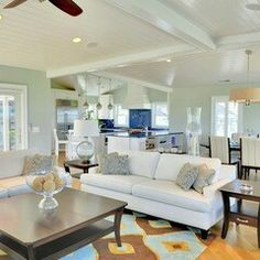 Sea Salt by Benjamin Moore Paint. Sea Glass Decor Design, Pictures, Remodel, Decor and Ideas - page 2 Love this ceiling and open floor plan. My Living Room, Home And Living, Living Room Furniture, Living Spaces, Small Living, House Of Turquoise, Sea Glass Decor, Florida Home, Florida Style