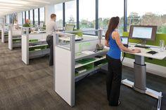 Height adjustable individual desks.
