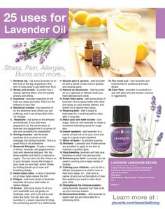 25 uses for lavender oil.. AND you can add a few drops to your dogs (fabric) collar to keep ticks and other nasty bugs away!