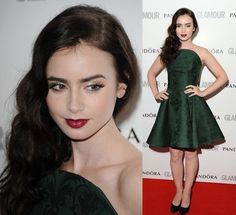 Lily Collins: Perfection in an emerald Alexander McQueen frock. Love the hair and makeup!