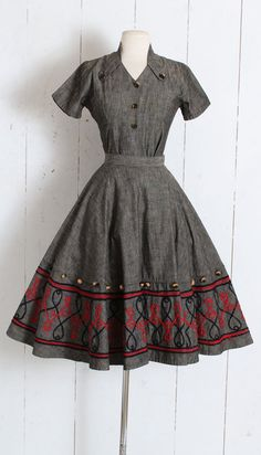 918ddca1db Vintage 1950s Dress vintage 50s Mexican hand woven skirt