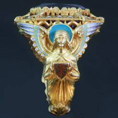 Gold Victorian Bishops ring with stunning enamel work and hidden ring with stalking wolf (image 7 of 13)