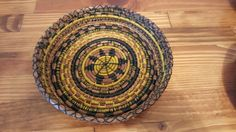 Round yellow and Hunter green basket. $30 - Available