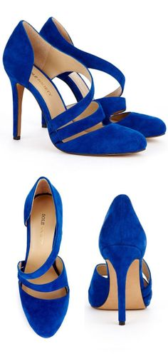 ♡ Cobalt Blue Criss-Cross Pumps ♥ These would also be hot in a rich plum or deep red color