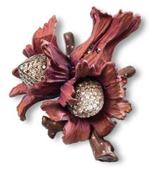 Hemmerle hazelnut brooch |  diamonds - gold - copper