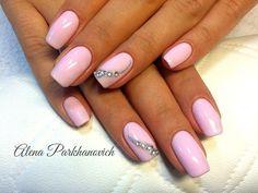 Everyday nails, Feminine nails, Nails with rhinestones, Nails with rhinestones ideas, Pale pink nails, Perfect nails, Plain nails, Square nails