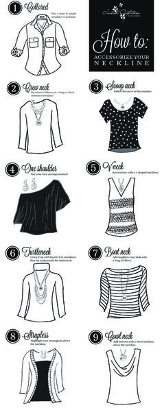how to accessorize different necklines/elige el collar según el cuello