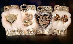 Top Quality Fluffy Fur Crystal Leo iphone 5 5s 5c 4 by mraicharms