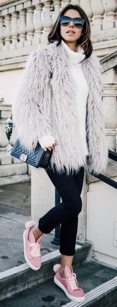 #winter #outfit #fashion Shaggy fur coat + pink bunny sneakers + cropped black jeans. Via Annabelle Fleur. Trousers: AYR, Coat: Glamorous, Sneakers: Minna Parikka, Bag: Chanel.
