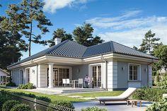 Zdjęcie projektu Dom na parkowej 7 A WAH1929 Modern Bungalow House, Bungalow House Plans, Tree House Designs, Small House Design, Beautiful House Plans, Beautiful Homes, American Style House, 2bhk House Plan, One Storey House