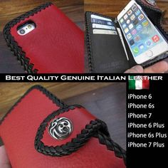 Genuine Italian leather iPhone 6,6s,7/6,6s,7,Plus Flip Case red WILD HEARTS Leather&Silver(ID ip3266d2)  http://global.rakuten.com/en/store/auc-wildhearts/item/ip3266d2/