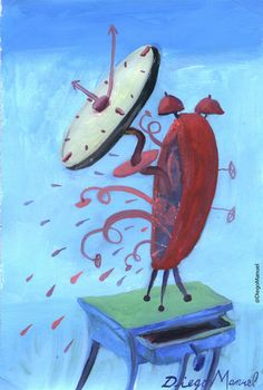 reloj despertador 7. Painting of the Serie Surrealism for sale by artist Diego Manuel