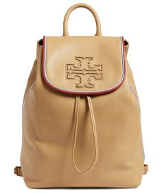 Harper stripe leather backpack by Tory Burch. A slouchy backpack crafted from pebbled calfskin leather features a spacious interior and plenty of pockets for effor...