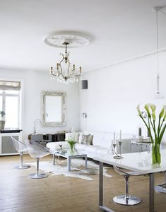 living room chandelier: white on white