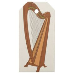 Harp Drawing Wooden Gift Tags - classic gifts gift ideas diy custom unique