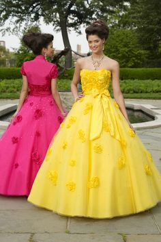Flower Ruched Bow Strapless Long Beaded Flattering Fashion Yellow Quinceanera Dresses