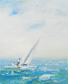 "GOOD SAILING DAY.    8x10"" Original acrylic painting on canvas. Original available through my Etsy website.  DeborahFerreeArtCafe."