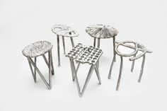 """Believe it or not, these stools were cast literally on the streets of Sao Paolo, from old aluminum cans melted in a portable foundry that was fired up using stale cooking oil. This radical experiment in upcycling is by the Anglo-Japanese duo who function as Studio Swine; it is now on show in the exhibition called """"New Territories: Laboratories for Design, Craft and Art in Latin America"""", at the Museum of Arts and Design in New York. BLAKE GOPNIK on art"""