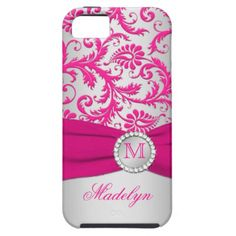 Monogram Pink, Silver Damask iPhone 5 Case iPhone 5 Cover