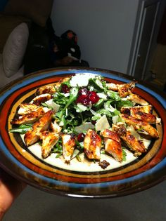 Arugula Salad with Grilled Chicken, Cranberries, & Walnuts