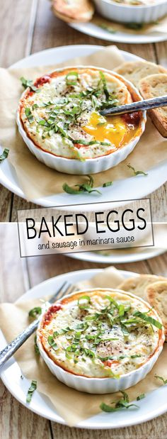 Baked Eggs and Sausage in Marinara Sauce is a perfect recipe for breakfast or brunch! | www.cookingandbeer.com