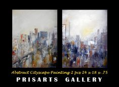 Modern Abstract Cityscape Original Painting By by prisarts on Etsy, $400.00