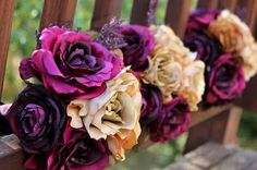 silk flowers for purple and gold themed wedding??