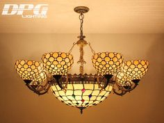 Stained Glass Lampshade Baroque Pendant Light Antique Novelty Creative Art Tiffany  Light Coffee Bar Hotel Chandelier Eight Lights