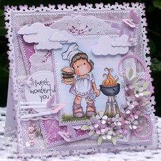 A Sprinkling of Glitter: Lets Play BINGO! - Simon Says Stamp DT Card. Ingredients - Featured product - Memory Box puffy clouds Images & sentiment - Magnolia's Burger Tilda,  Tilda's barbeque & Sweet Wonderful You Medium - Copics Papers - Magnolia Doily - Royal Lace Sparkle - Stardust Stickles Pearls - Hero Arts, Gems - Hero Arts Lace - Simplicity Tools - Cherry Blossom PATP, frond leaf & classic 3-in1 butterfly punches all Martha Stewart, Magnolia Swirls, CC Designs 5 point flowers,