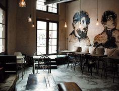 Naif - café in Madrid Restaurant Interior Design, Cafe Interior, Interior And Exterior, Restaurant Interiors, Interior Sketch, Lower East Side, Ria Formosa, Cafe Concept, Hotel Restaurant