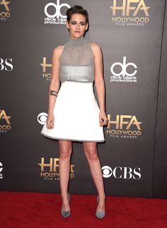 """#KristenStewart wears #Chanel, She presented Julianne Moore, her co-star in """"Still Alice"""", with the #HollywoodActressAward. #chanel #fashion #collection #hautecouture #paris #film #actress #award2014"""