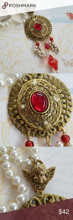 Handmade Original Vintage Assemblage Necklace Handmade  One of a kind  Vintage brooch set onto a Goldtone base. Hangs from an Angel charm and a vintage pearl necklace. Vintage dangles Spring ring clasp Handmade Jewelry Necklaces