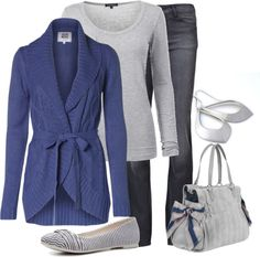 """Blue & Gray"" by lagu on Polyvore"