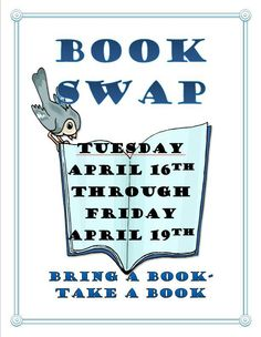 Join the SCC community as we participate in a book swap for National Library Week! It's free AND easy! Bring a book, take a book, or both!