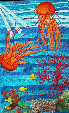 Custom Octupus sea scape art quilt made just for Micaela