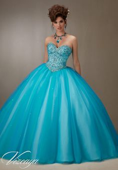 Quinceanera Dress Vizcaya Morilee 89073 Layered tulle ball gown with embroidery and jeweled beading Colors: Pink Champagne and Island Blue