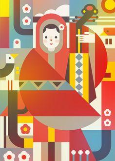 Jaye Kang Geometric Poster, Geometric Graphic, Pencil Illustration, Graphic Design Illustration, Geometric Shapes Design, Food Graphic Design, Contemporary Quilts, Art Logo, Painting Inspiration