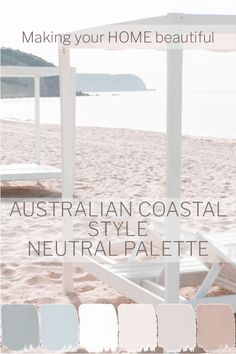 coastal decor The colour palette for an Australian Coastal style should be based on soft neutrals. Greys, whites, limestone and soft warm neutrals as accents. I have 7 steps to achieve an Australian Coastal style here. House Colors, Coastal Living Rooms, House Styles, Cottage Decor, Coastal Color Palettes, Coastal Style Decorating, Coastal Style, Cottage Style, Coastal Bedrooms