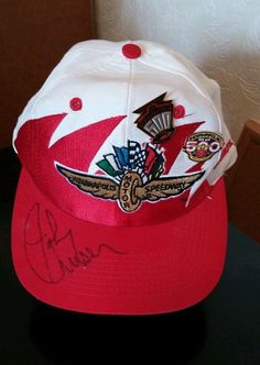 8e7bb7356e82b Indianapolis Motor Speedway Cap Signed By Johnny Unser With 2 Pins 1997    1998 in Sports
