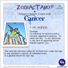 Click on ZodiacTarot for zodiac tarot cards for each sign. There's a treasure trove of insightful zodiac prophecy on iFate.com's astrology site.