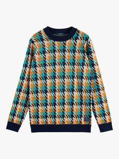 Sweat Shirt, Mens Jumpers, Scotch Soda, Pattern Mixing, Plaid Pattern, Men Sweater, Crewneck Sweater, Pulls, Types Of Sleeves
