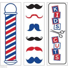 "Barber Shop decals variety pack, 2""W x 7""H, 3-Decals #SC-9021"