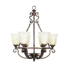 Add sophistication to your room with this Fairview 6-Light Heritage Bronze Chandelier. Included metal mounting hardware has attractive heritage-bronze finish for elegance. Bulbs are covered with water-patterned glass shades, which make for an interesting light diffusion. Bargain Liquidation Warehouse 230 N. Sherman Ave. Corona, CA 92882 Phone: (951) 898-1144