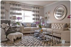 Cuckoo 4 Design | In need of a little color: living room with a lot of grey patterns, Strandmon chair, Overstock rug